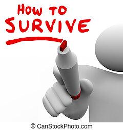 como, sobreviver, palavras, conselho, aprendizagem,...