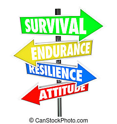 Survival, Endurance, Resilience and Attitude words on colorful road signs with arrows pointing to directions for overcoming a problem, trouble or difficult challenge