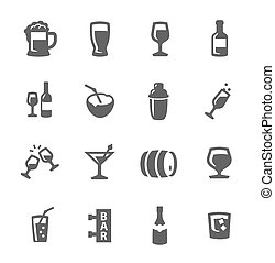 alcoholic beverages icons - Simple set of alcoholic...
