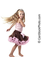 Little girl dancing in studio - Shot of dancing little girl...
