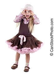 Emotional little girl in studio - Shot of emotional little...