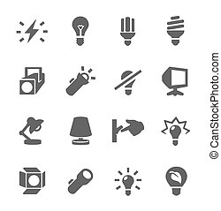 light source icons - Simple set of light source related...