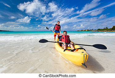 Father and son kayaking