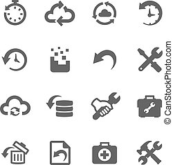 Recovery and repair icons - Simple set of recovery and...
