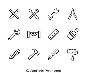 Thin line Tools icons - Simple set of tools related vector...