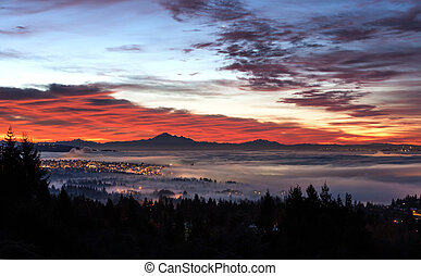 sunrise and morning glow - Sunrise, view of Mount Baker from...