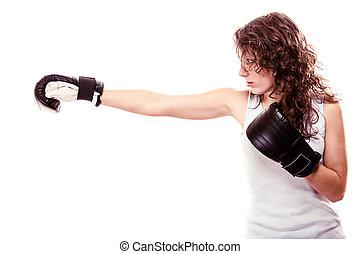 Sport boxer woman in black gloves. Fitness girl training...