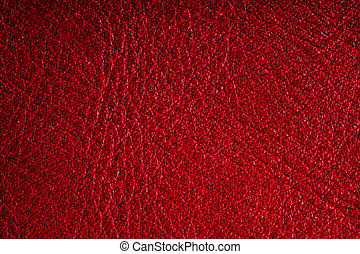 Red textured leather grunge background closeup - Red leather...