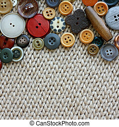 Vintage Sewing Buttons Framing Fabric Square Background - a...