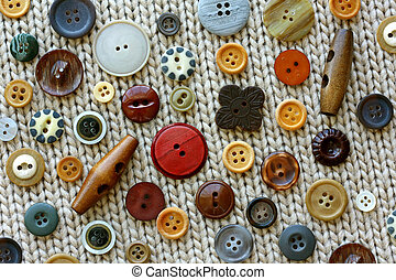 Craft Sewing Buttons on Woven Fabric Background - brown,...
