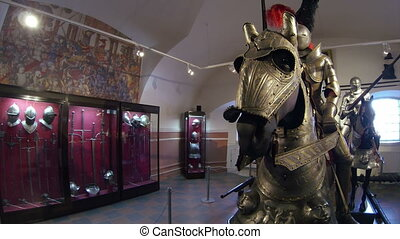 A knight in armor on horseback