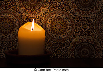 Candlelight at vintage wallpaper - A candlelight burning in...