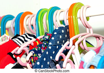 clothes hanger - Clothes Hanger hanging in the wardrobe of...