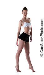Graceful athletic model isolated on white background