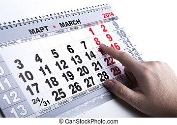 mur, calendrier, nombre, jours