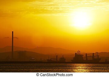 Port - View from Gibraltar to the Spanish industrial zone.