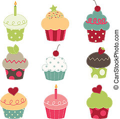 nine retro cupcake cutouts on a transparent background
