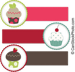 Cupcakes on a retro template copy space for text and...