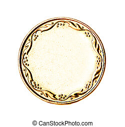 Blank gold and silver coin isolated