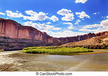 Colorado River Green Grass Red Rock Canyon Outside Arches...