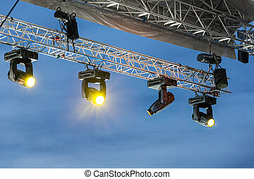 Stage lights on a console