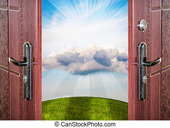 prairie landscape and sky - open door with a view of green...