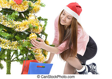 Christmas Wish - Young beautiful woman holding a christmas...