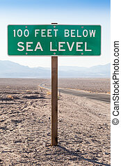 Below sea level - Death Valley, USA. Road sight in the...