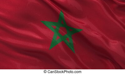 Flag of Morocco seamless loop - Flag of Morocco gently...
