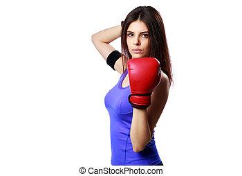 joven, Confiado, deporte, mujer, posición, boxeo,...