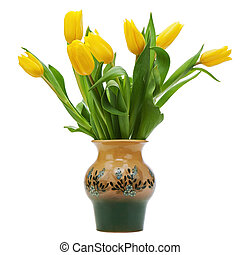 Flower bouquet from yellow tulips in vase isolated on white...