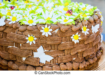 chocolate birthday cake - big chocolate cake decorated with...