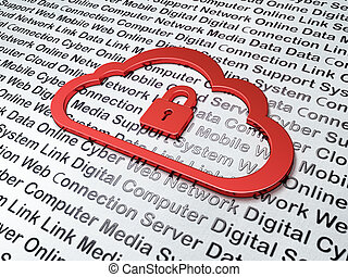 Cloud networking concept:  Cloud With Padlock on Digital Technology background