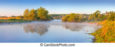 Panorama of the summer morning on river