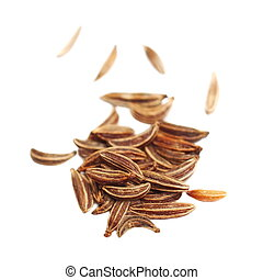 pile spice cumin in grain isolated on white background