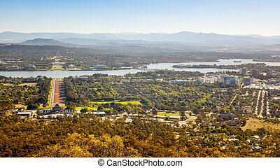 Aerial view over Canberra - An image of the capital city of...