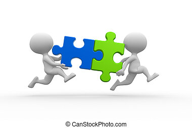 Puzzle - 3d people - man, person with pieces jigsaw puzzle