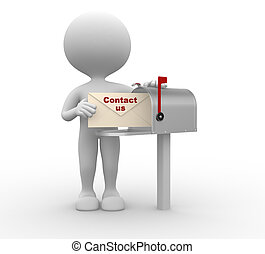 Contact us - 3d people - man, person with envelope beside...