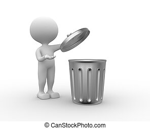 Trash can - 3d people - man , person standing next to a...