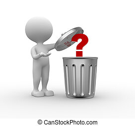 Trash can and question mark - 3d people - man , person...