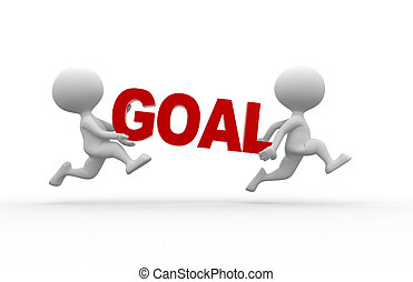 Goal concept - 3d people - man, person and word GOAL