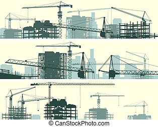 Site with cranes and building. - Vector horizontal banner of...
