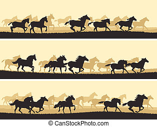Illustration herd of horses - Horizontal vector banner:...