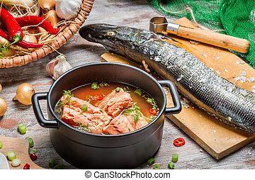 Freshly made soup of salmon with dill