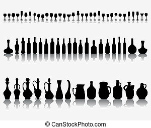 Glasses and bottles of wine - Silhouettes and shadows of...