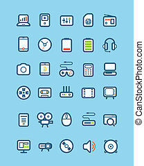 Different tech equipment icons set. Design elements