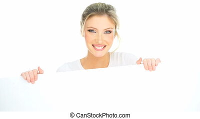 very exited woman showing a copy space on white
