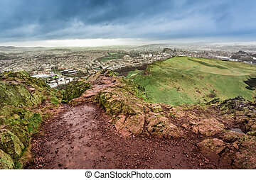 View from Arthur's Seat to Edinburgh in rainy day
