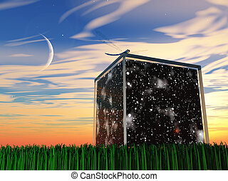 Box contains space and stars