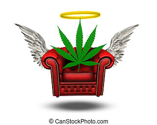 Winged Chair with Halo and Marijuana leaf